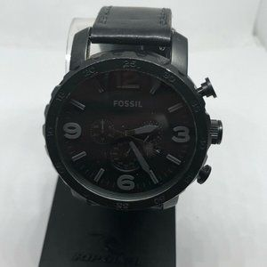 Fossil Men's Leather Analog Black Dial Watch KG375
